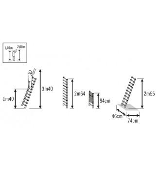 Schéma echelle télescopique pliable 9 échelons 2m60 en alu Hailo Flexline