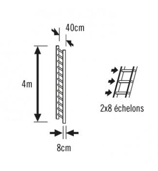 Schéma echelle de toit en bois pour couvreur 4m avec crochet de faitage Hailo Safety Roof
