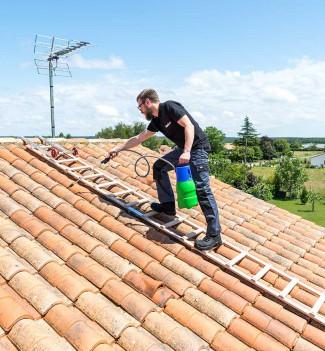 Echelle plate de toit en bois pour couvreur avec crochet de toit 5 m Hailo Safety Roof