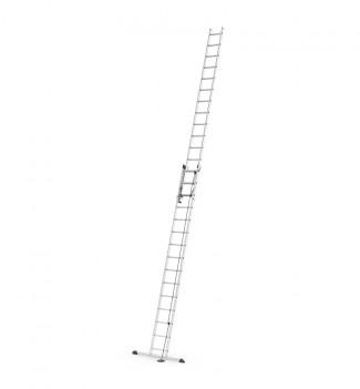 Echelle coulissante à corde 2 plans 2x15 échelons 8m40 en aluminium Hailo ProfiStep Duo