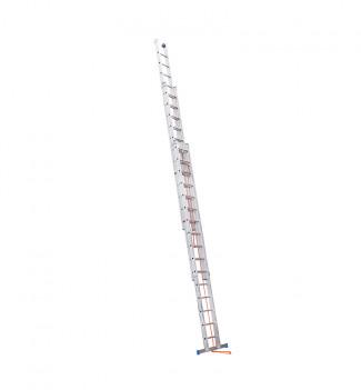 Echelle coulissante à corde professionnelle 3 plans 3x14 échelons 10m en alu Hailo Trio