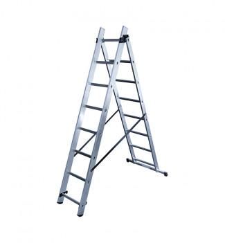 Echelle transformable 2 plans 2x8 échelons 4m50 en aluminium Hailo HobbyStep