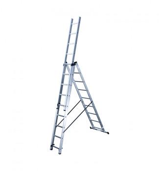 Echelle transformable 3 plans 3x9 échelons 6m70 en aluminium Hailo HobbyStep position échelle aérienne