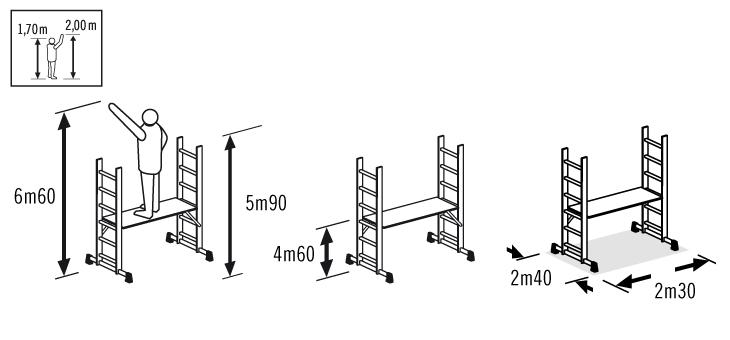 Schéma de l'échafaudage Hailo Fast & Lock Pro 7