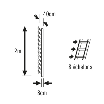 Schéma extension échelle de toit 2m