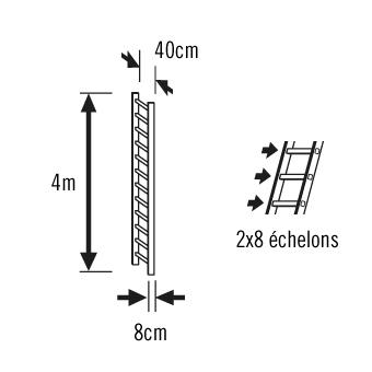 Schéma échelle de toit 4m
