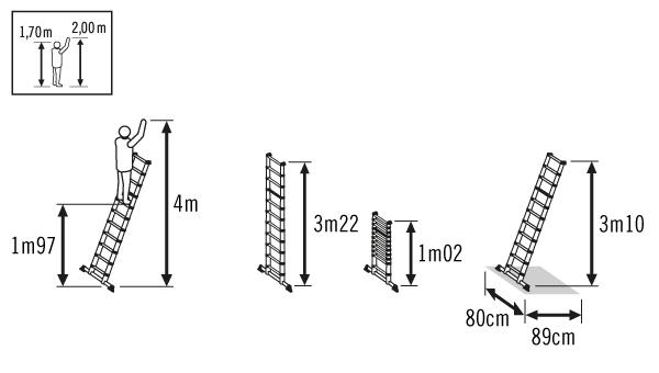 Schéma échelle télescopique 3m20 Hailo Flexline
